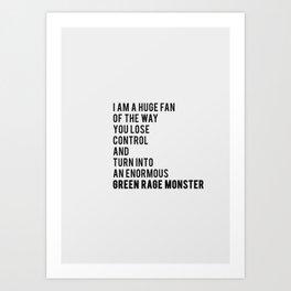 Green Rage Monster v2 Art Print