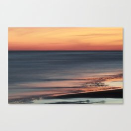 Fiery Sunset Over Galveston Beach Texas Canvas Print