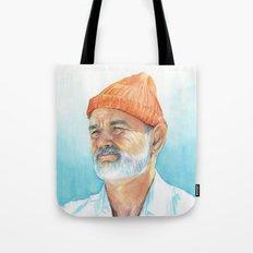 Steve Zissou Art Life Aquatic Bill Murray Watercolor Portrait Tote Bag