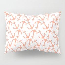 Modern coral white trendy nautical anchor Pillow Sham