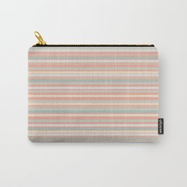 Fine Stripes Pastel Pattern in Celadon Mint and Blush Pink Peach  Carry-All Pouch