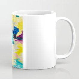DONT QUOTE ME Whimsical Rainbow Ikat Chevron Abstract Acrylic Painting Magenta Plum Turquoise Gift Coffee Mug