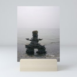 Stone Inukshuk on The Shore Looking Out Over Calm Water ~ A Meaningful Messenger Mini Art Print