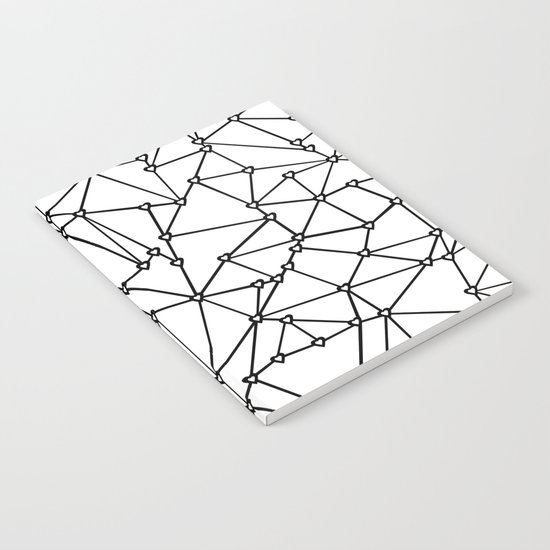 Abstract Heart Black on White Notebook