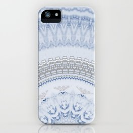 Elegant Blue Silver China Inspired Mandala iPhone Case