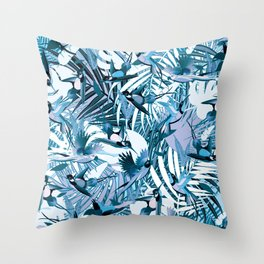 Tropical Mood in Blue Throw Pillow