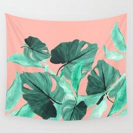 Jungle Foliage (Peach) Wall Tapestry