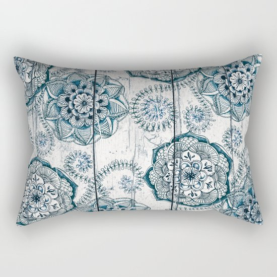 Navy Blue Floral Doodles on Wood Rectangular Pillow