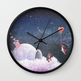 Penguin Lovers and Their New Home in the Stars Wall Clock