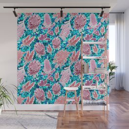Pink and blue glittery australian native floral print Wall Mural