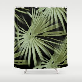 Green On Black Tropical Vibes Beach Palmtree Vector Shower Curtain