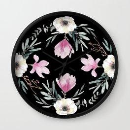 Magnolias, Eucalyptus & Anemones Wall Clock