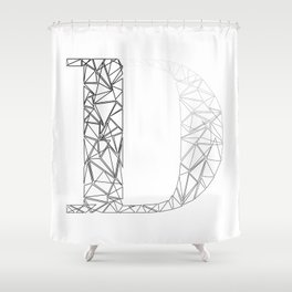 ''Geometry Collection'' - Minimal Letter D Print Shower Curtain