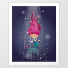 Mermaid with a pearl Art Print