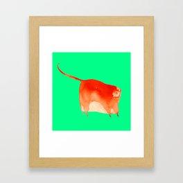 Red cat in green Framed Art Print