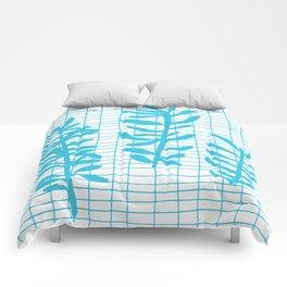Grid Sprig - aqua blue Comforters