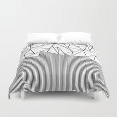 Ab Lines White Duvet Cover