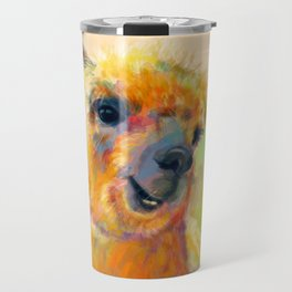 Colorful Happiness - Alpaca digital painting Travel Mug