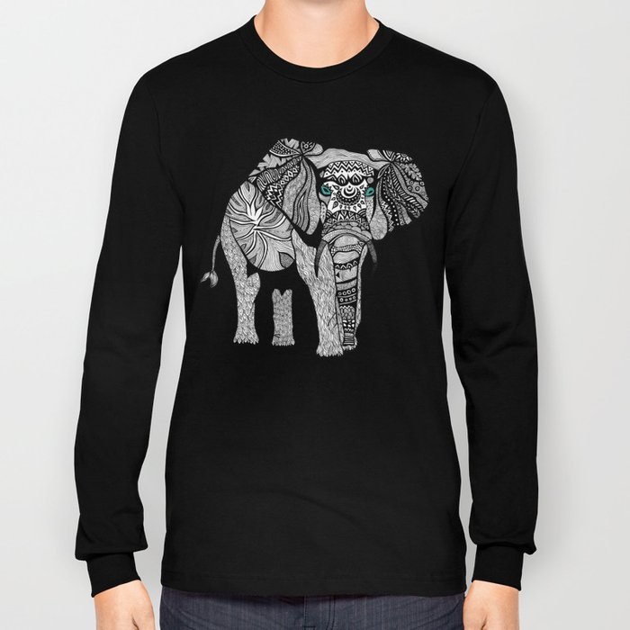 Tribal Elephant Black and White Version Long Sleeve T-shirt