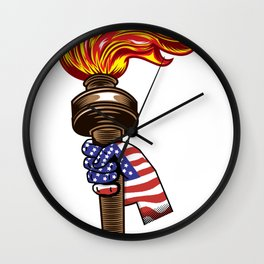 American Flag and Torch 4th of July Patriotic Independence Day Wall Clock
