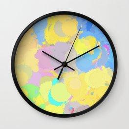 Colorful splatter, yellow-blue circles Wall Clock