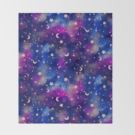 Zodiac - Watercolor Dark Throw Blanket
