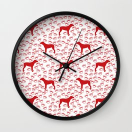 Big Red Dog and Paw Prints Wall Clock