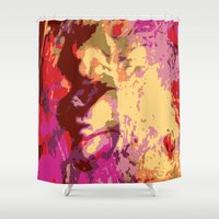 faces Shower Curtains featuring Faces by Tina Vaughn