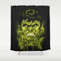 hulk Shower Curtains featuring HULK by dan elijah g. fajardo