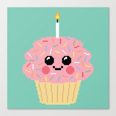 Happy Pixel Cupcake Canvas Print