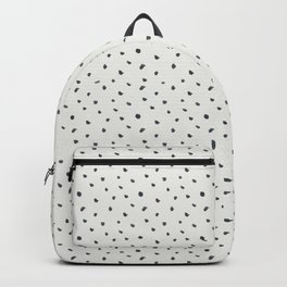 Hand painted black white watercolor polka dots brushstrokes Backpack
