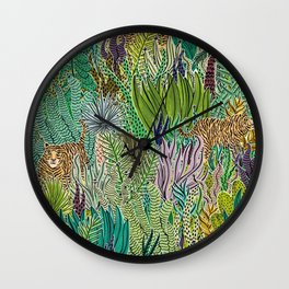 Jungle Tigers by Veronique de Jong Wall Clock