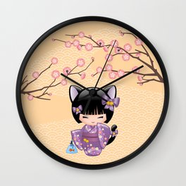 Japanese Neko Kokeshi Doll V2 Wall Clock