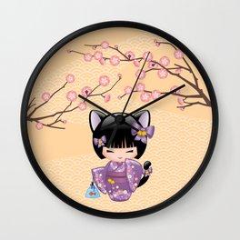 Japanese Neko Kokeshi Doll V2 Wall Clock
