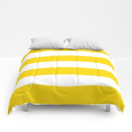 Sunshine Yellow and White Stripes Comforters