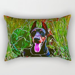 doberman dog red flowers meadow vector art Rectangular Pillow