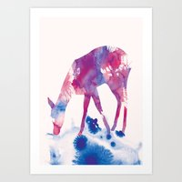 fawn Art Prints featuring Fawn by Andreas Lie