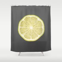 lime Shower Curtains featuring lime by jon hamblin