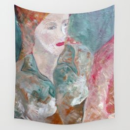Woman in green Wall Tapestry