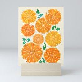 Orange Slices With Blossoms Mini Art Print