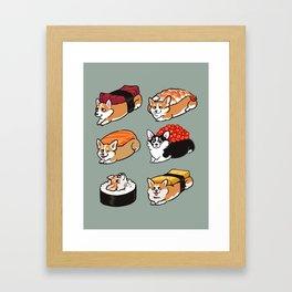 Sushi  Corgi Framed Art Print