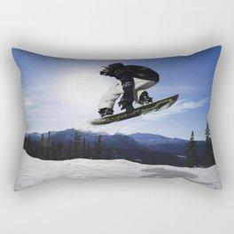 Born To Fly Snowboarder & Mountains Rectangular Pillow