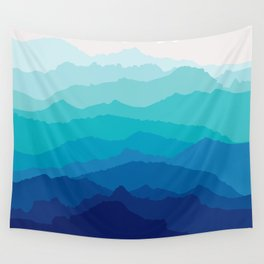 Blue Mist Mountains Wall Tapestry