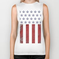 american flag Biker Tanks featuring American Flag by Nicko-Suave Art