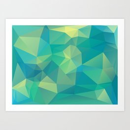 Polygon mosaic abstract triangles background in grue Art Print