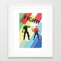 fight Framed Art Prints featuring FIGHT! by Lena Lang