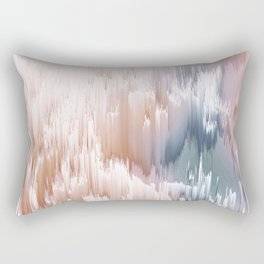 Etherial light in blush and blue - Glitch art Rectangular Pillow