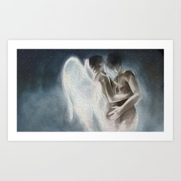 Angel fantasy-Embraced couple-Nude Art Print