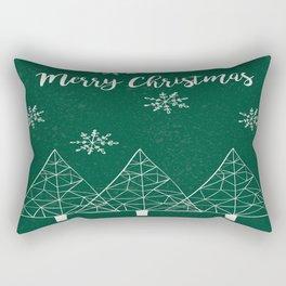 Merry Christmas Green Rectangular Pillow