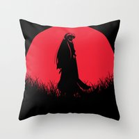 inuyasha Throw Pillows featuring Red Moon Inuyasha by Timeless-Id